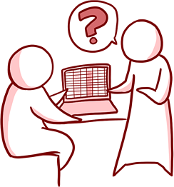 Cartoon Example of People Confused Looking at a Computer