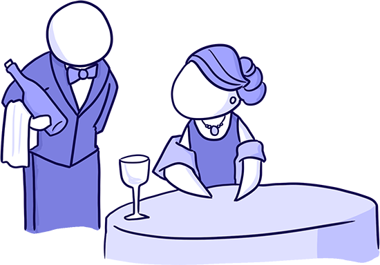 figure dressed as a wine sommelier serving a figure in a nice dress and elegant hair a bottle of wine illustrating leadership credibility